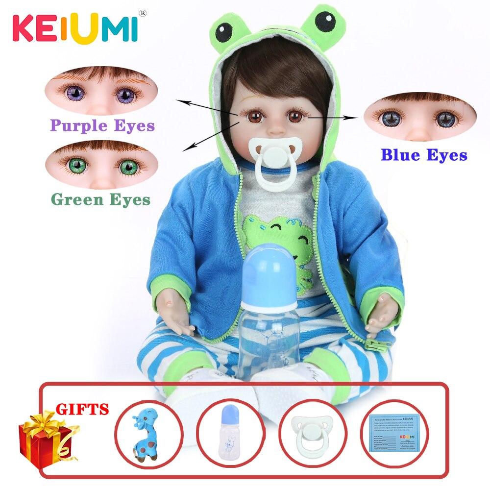 KEIUMI Hot Sale Reborn Baby Doll Soft Silicone Cloth Body Realistic Fashion Doll Newborn Toy With Giraffe Kids Birthday Gifts